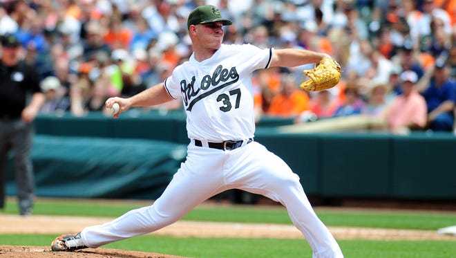 Orioles pitcher Dylan Bundy throws a pitch in the second inning against the Yankees at Oriole Park at Camden Yards in Baltimore on Monday.