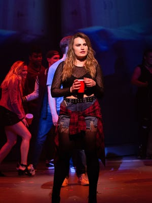 "Kathryn Gallagher in ""Jagged Little Pill"" at the American Repertory Theater in Cambridge.  The new musical was developed and premiered at the A.R.T.'s Loeb Drama Center in Cambridge and went on to Broadway in New York. It has been nominated for 15 Tony Awards, the most of any show from the 2019-20 season."