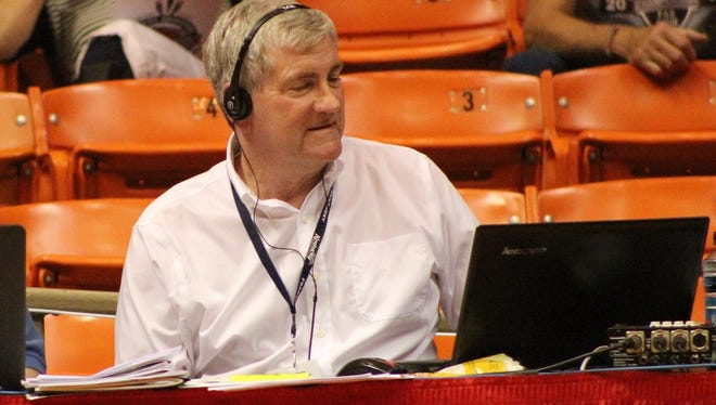 Dave McCulley broadcasts a Bethel University women's basketball game last fall at the Rotary Classic at Oman Arena in Jackson.