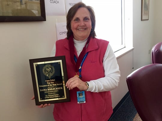 """Dana Krejcarek, Kohler High School science teacher, said that being named to the 2015 Claes Nobel Top 10 Educators of the Year list is an award  that is bigger than just her and serves as a testament to how """"education makes a difference."""""""