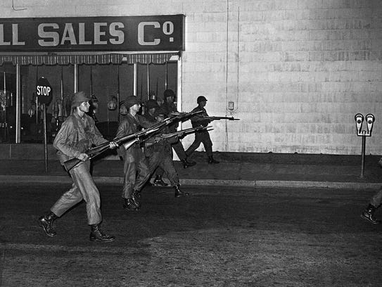 Troops of the Maryland National Guard, with bayonets