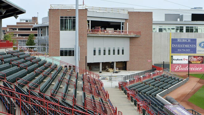 Erie Events has applied for a $9 million state grant to help fund ongoing UPMC Park renovations, including the Stadium Club, center, shown on Wednesday.