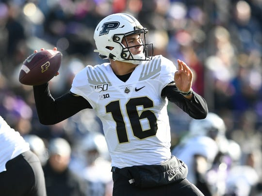 Purdue quarterback Aidan O'Connell (16) passes during the first half of an NCAA college football game against Northwestern, Saturday, Nov. 9, 2019, in Evanston, Ill. Purdue won 24-22. (AP Photo/Paul Beaty)