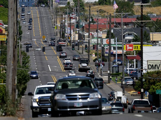 Traffic flows down 82nd Avenue in East Portland.