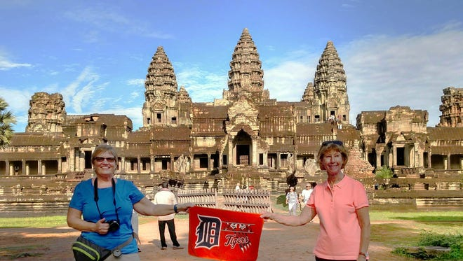 From left, Christine Mullane of Clinton Township and Emma Weyer ofNovi took the D to the Angkor Wat Temple in Cambodia in May 2017.
