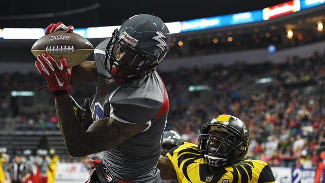 Sioux Falls Storm's Caleb Holley (18), who made a key catch at the end of the Storm's win over Iowa last week, hauls in a touchdown pass during a game against the Wichita Falls Nighthawks Saturday, April 16, 2016, at the Denny Sanford Premier Center in Sioux Falls.