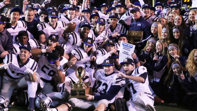 Farragut celebrates their first Division I Class 5A high school football championship game win at Tennessee Tech in Cookeville on Dec. 2, 2016. Farragut defeated Independence 45-35.