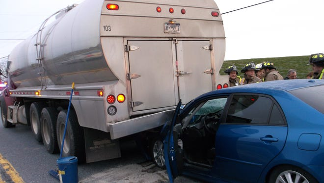 A car crashed into the rear of a milk tanker truck on Route 322 at Starner Road in West Cornwall Township Monday, March 12 at 7:51 a.m. The tanker, owned by Kuntz & Son Inc., 590 Hershey Road, Hummelstown, sustained minor rear-end damage, but was drivable. The car sustained extensive front-end damage and had to be towed.