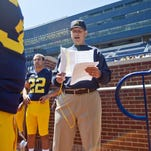Michigan coach Jim Harbaugh has returned to his former school to lead the Wolverines.