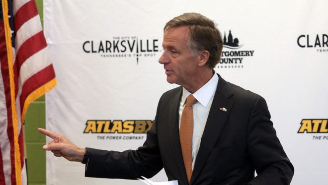 Gov. Bill Haslam announces at a news conference Wednesday that South Korean automotive battery manufacturer Atlas BX is coming to Clarksville.