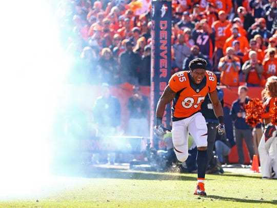 Denver Broncos tight end and Tulare Union graduate Virgil Green (85) is expected to make his second apperance in the Super Bowl.