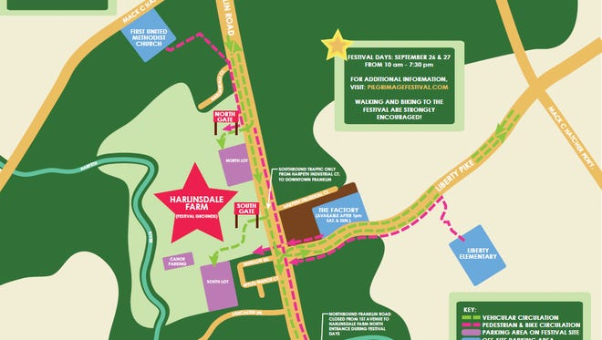 Here's a map of the parking and traffic plan for Pilgrimage Music and Cultural Festival.