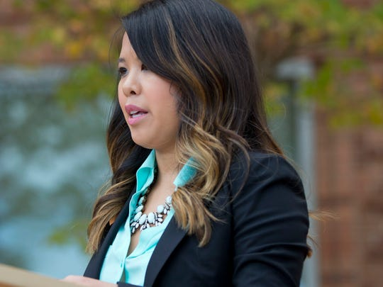 Patient Nina Pham speaks outside of National Institutes of Health (NIH) in Bethesda, Md., Oct. 24, 2014. Pham, the first nurse diagnosed with Ebola after treating an infected man at a Dallas hospital is free of the virus.