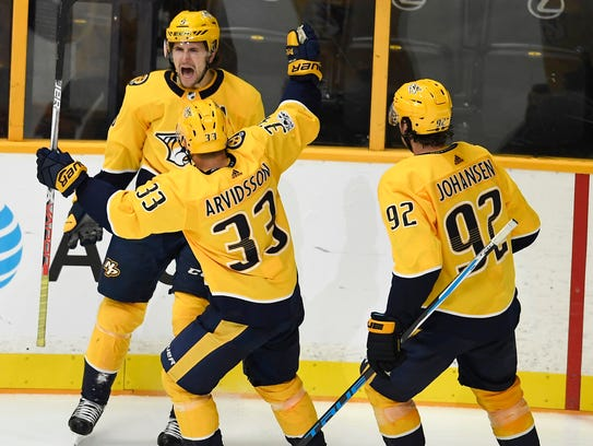 Nashville Predators left wing Filip Forsberg (9) celebrates