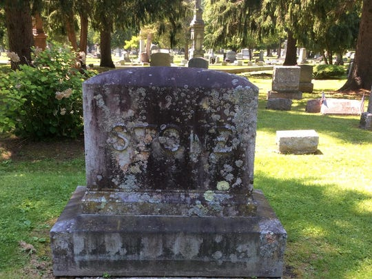 The Charles Stone monument in Lakeview Cemetery in Burlington before the cleaning. Deborah Hardy suspects the monument hadn't been cleaned at all since its installation.