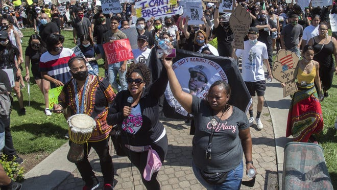 Hundreds of protesters begin a march during a demonstration Wednesday morning calling for justice in the death of George Floyd while in the custody of Minneapolis police. The peaceful protest started and ended at Dr. Martin Luther King Jr. Plaza in downtown Stockton.