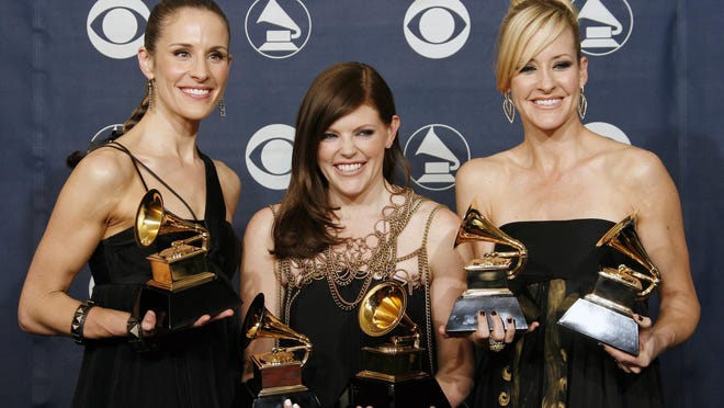 FILE - In this Feb. 11, 2007 file photo, musicians Emily Robison, left, Natalie Maines, center, and Martie Maguire of the group The Dixie Chicks pose with their awards for song of the year, for record of the year, for album of the year, for best country album, and for best country performance at the 49th Annual Grammy Awards in Los Angeles. The group have dropped the word dixie from their name and are now going by The Chicks. The move follows a decision by country group Lady Antebellum to change to Lady A after acknowledging the word's association to slavery.
