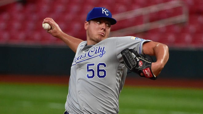 Kansas City Royals pitcher Brad Keller (56) gave up his first runs of the season Monday night in a 9-3 loss to the St. Louis Cardinals at Busch Stadium.