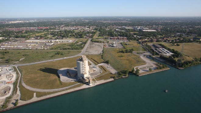 Aerial View of the area where the new bridge to Canada and its service plaza are planned in Delray on the Detroit side on Thursday June 14, 2012.