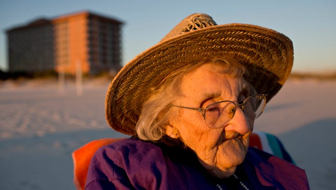 Ruby Holt, a 100-year-old Tennessee native, reflects as she sees the ocean for the first time in her life on Nov. 19 in Orange Beach, Ala. Holt, who made news around the nation last month when she visited the ocean for the first time at the age of 100, has turned 101.