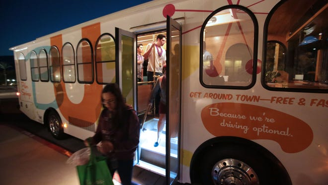 The Palm Springs Buzz bus, which will start operation in December, is displayed at the Show Me Palm Springs event at the Palm Springs Convention Center on Wednesday.