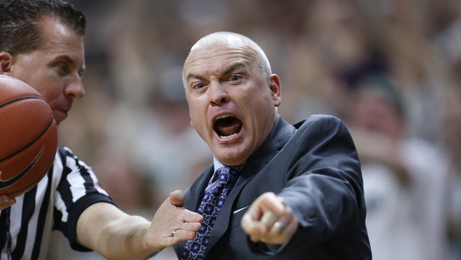 Head coach Patrick Chambers of the Penn State Nittany Lions reacts during the game against the Michigan State Spartans at the Breslin Center on January 21, 2015 in East Lansing, Michigan.