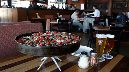 The BJ's Favorite deep dish pizza and in-house craft