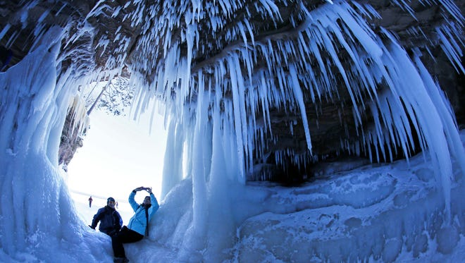 A cave at the Apostle Islands National Lakeshore in northern Wisconsin, which was transformed into a dazzling display of ice sculptures during the winter of 2014.