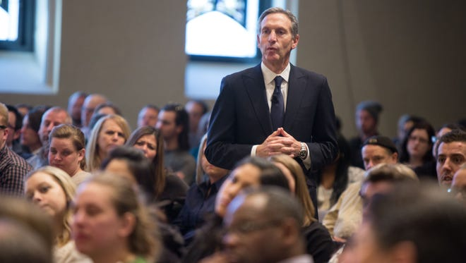 At a March town hall meeting in Chicago, Starbucks CEO Howard Schultz listens as employees describe how race has affected their work and personal lives.