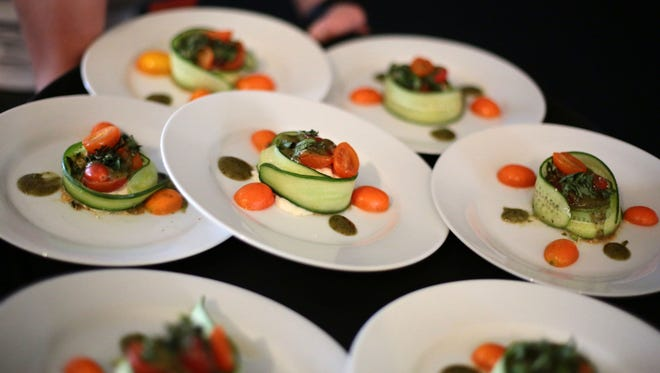 Chef Lulu Powers' appetizer is served at the James Beard Luncheon in Palm Desert on Friday.