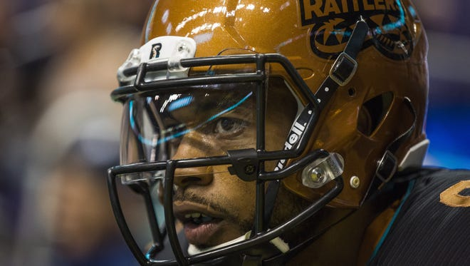 Rattlers' Markee White (8) waits for kick-off against the Thunder at the US Airways Center in Phoenix, AZ on April 18, 2015.