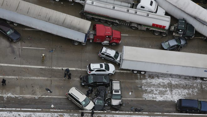 Three people died in a multiple-vehicle accident scene that stretched for more than a mile long along I-75 southbound.At least 30 vehicles were involved in the pileup near the Springwells exit in Detroit on Thursday, January 31, 2013.ROMAIN BLANQUART/ Detroit Free Press