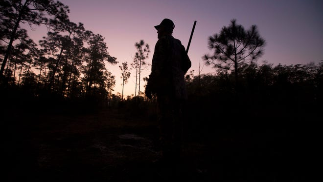 Franklin Adams hunts in the early morning fog of the Big Cypress National Preserve. Adams, a Golden Gate resident has been coming to the Everglades for nearly 70 years. He considers it a spiritual place.