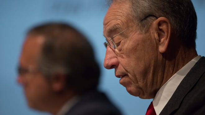 """Senator Charles Grassley conducts the United States Senate Committee on the Judiciary field hearing, """"A New Era in the Fight Against Methamphetamine in Iowa,"""" in Cowles-Kruidenier Auditorium at the State Historical Building in Des Moines, Iowa, Tuesday, Oct. 13, 2015."""
