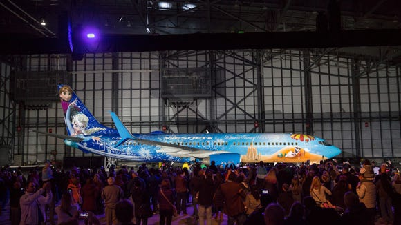 The new 'Frozen'-themed plane was revealed at an event