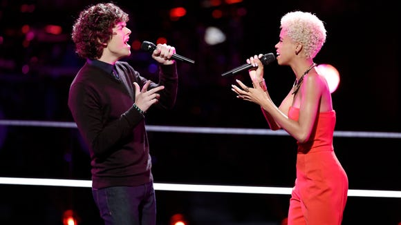 """Cole Criske and Nadjah Nicole (right) perform Britney Spears' """"One More Time"""" on """"The Voice"""" Tuesday night."""