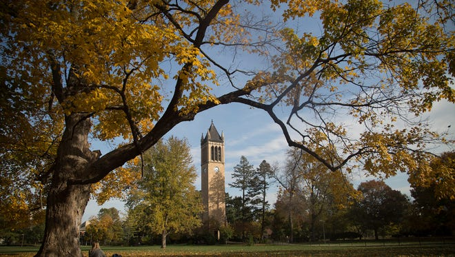 Iowa State University's campus trees ablaze with color Ames, Iowa, Wednesday, Oct. 21, 2015.