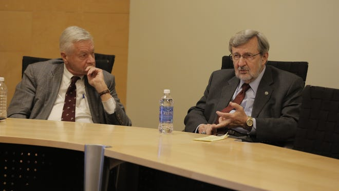 Retired U.S. Reps. Tom Petri, R-Fond du Lac, and Dave Obey, D-Wausau, are presenting their Wisconsin Civic Participation Tour around the state.  Petri served from 1979 to 2015 and Obey served from 1969 to 2011.  They spoke to students at UW-Oshkosh on October 27, 2015.