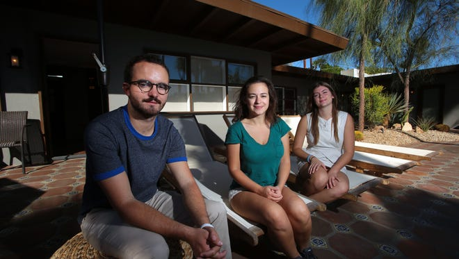 """(From the left) Directors Marco La Via and Hanna Ladoul with producer  Jessica Maroney at the Thirteen Palms resort in Palm Springs on Friday. They plan to shoot their short film  """"Diane From the Moon"""" starring Mya Taylor in December in Palm Springs with the Thirteen Palms as a location."""