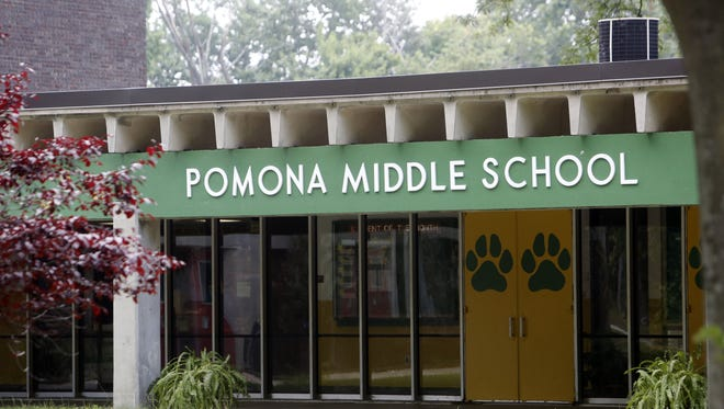 The exterior of Pomona Middle School in Suffern is photographed July 23, 2014.