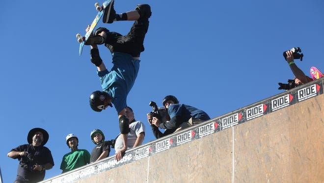 Tony Hawk shows off his skills at the El Gato Skateboard Classic at the Palm Springs Skate Park in January 2015.