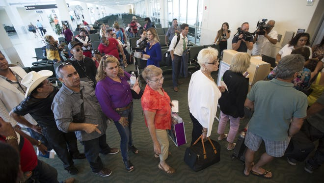 Travelers line up for first Fort Myers-to--Havana flight on Nov. 2,