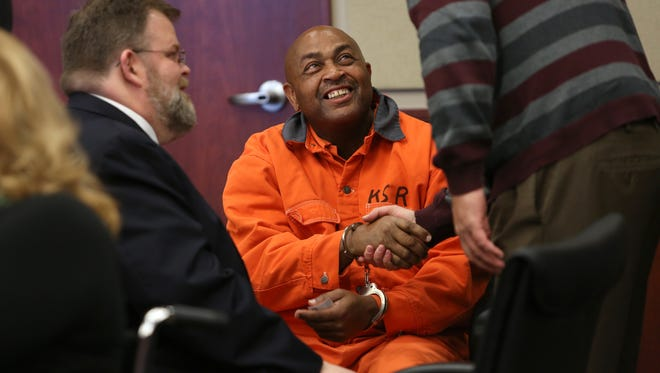 William 'Ricky' Virgil, 63, smiles after Campbell County Circuit Court Judge Fred Stine granted him a new trial in the murder of Christian minister and Veterans Administration nurse Retha Welch in 1987.The Kentucky Innocence Project has filed motions on Virgil's behalf claiming new DNA evidence shows his innocence.
