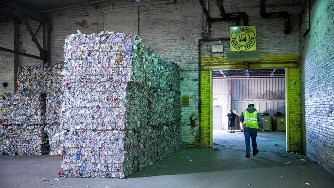 East Central Recycling in Muncie bales and markets recyclable materials.