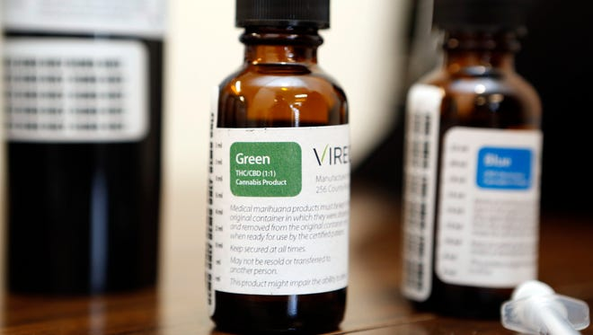 Packaging for non-smokeable forms of marijuana, such as liquids and oils for vaporization and capsules, are photographed at Vireo Health of New York medical marijuana dispensary in White Plains during a media tour Jan. 5, 2016. The dispensary, one of 20 in New York, will open Thursday.