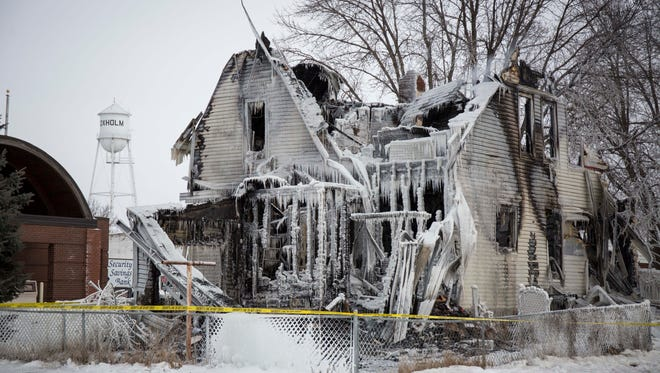 A space heater may be the cause of a Sunday Jan 17, 2016, house fire in Boxholm that claimed the lives of a young mother and her three children shown here Monday Jan. 18, 2016.Victims Amber Sorenson, 27, and her children Riley, 9, Autumn, 6, and Brayden, 4, were found in the upstairs master bedroom.