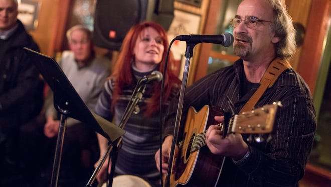 Mike Mercatante and Jenna Reed of Still Running perform during the Bootlegger Balladeer Wednesday, Jan. 27, 2016 at LaCroix's Riverside Pub in St. Clair.
