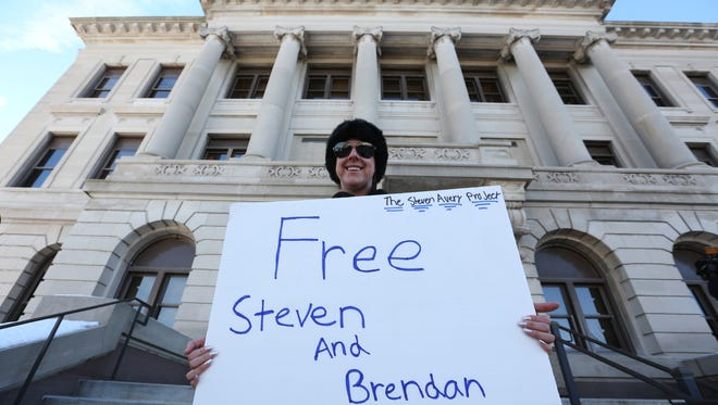 Supporters, from near and far, of convicted killer Steven Avery and his nephew, Brendan Dassey, gather around the Manitowoc County Courthouse to protest on Friday, Jan. 29. Some counter-protester were also present.