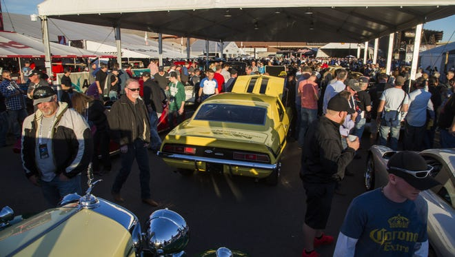 Thousands of people make their way through the final day at Barrett-Jackson in Scottsdale, AZ on January 30, 2016.