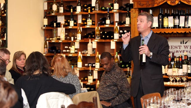 Lohud wine expert, Thierry Pradines of Best Wine Purveyors in Pleasantville, leads an exclusive tasting event at his shop, Feb. 11, 2016.